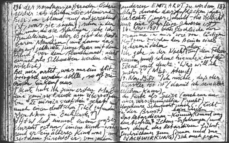 Die Wiederholung, Notizbuch, 16.09.1981 bis 31.12.1981, ÖNB ÖLA/SPH/LW/W98, fol. 100 © Peter Handke