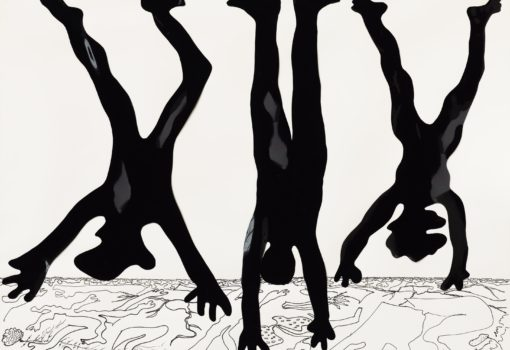 """Kiki Kogelnik, """"Untitled (Hangings)"""", c. 1970, Feuille De Vinyle Et Encre De Chine Sur Papier, 58 X 74 Cm. © 1970 Kiki Kogelnik Foundation. Tous droits réservés."""